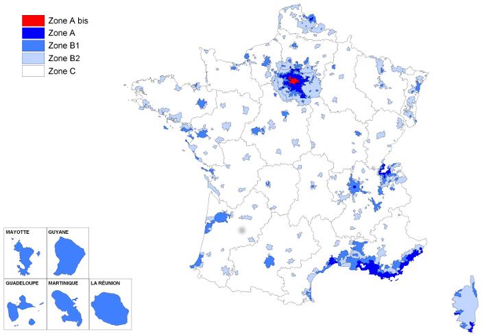 localisation des zones éligibles au régime Pinel